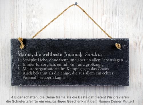 Schiefertafel mit Gravur - Definition Weltbeste Mama - 2