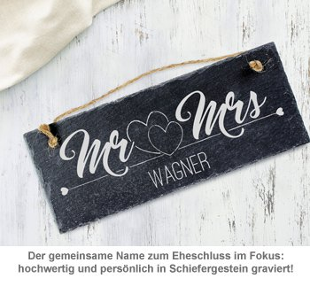 Schiefertafel mit Gravur - Mr and Mrs - 2