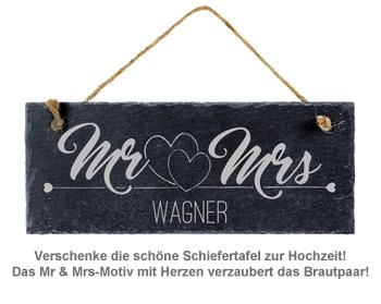 Schiefertafel mit Gravur - Mr and Mrs - 3