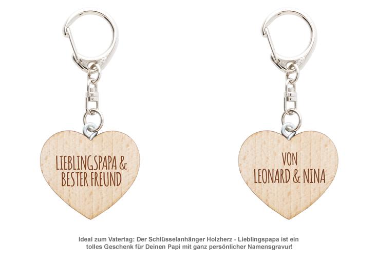 Schlüsselanhänger Holzherz - Lieblingspapa - 2