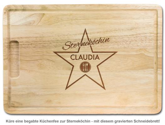 Sterneköchin - personalisiertes Schneidebrett - 2
