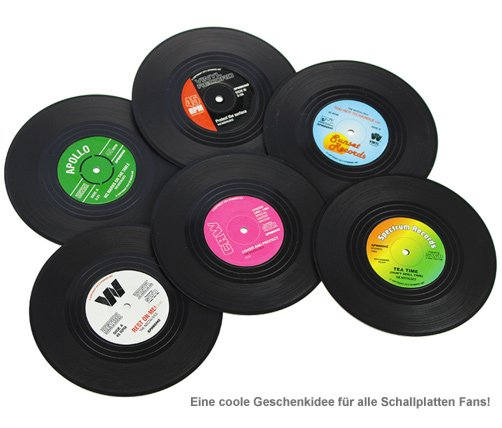untersetzer im vinyl schallplatten look f r musikfans. Black Bedroom Furniture Sets. Home Design Ideas