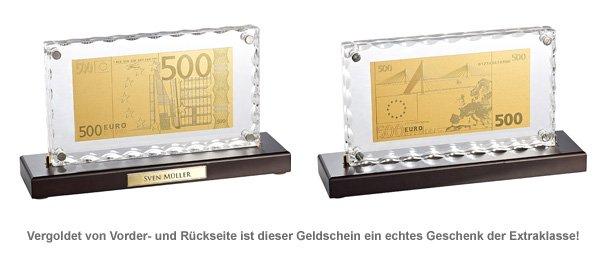 Vergoldete Banknoten-Replik 500 Euro mit Aufsteller - 2