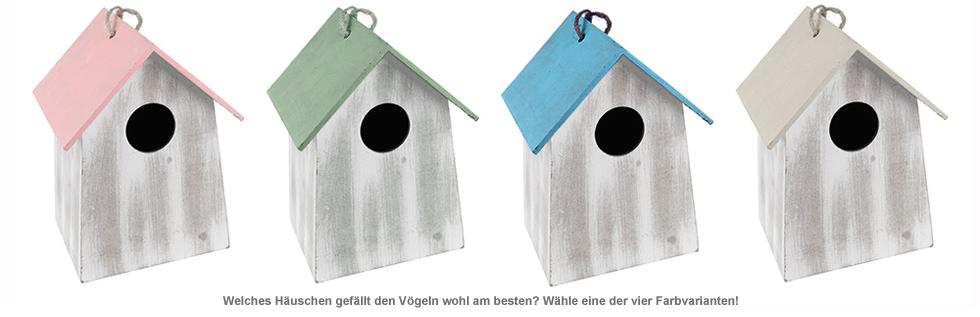 Vogelhäuschen mit Holzgravur - vier Farben - 2