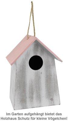 Vogelhäuschen mit Holzgravur - vier Farben - 3