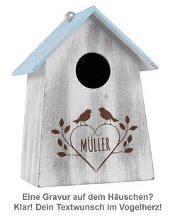 Vogelhäuschen mit Holzgravur - vier Farben - 4