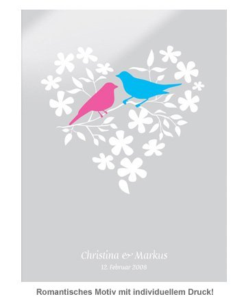 Vogelpärchen im Blumenherz - personalisiertes Bild Weiß - 2