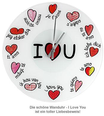 Wanduhr - I Love You - 2