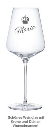 Weinglas mit Gravur - Königin Krone - 2