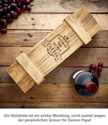 Weinkiste rustikal mit Gravur - Bester Papa - 3