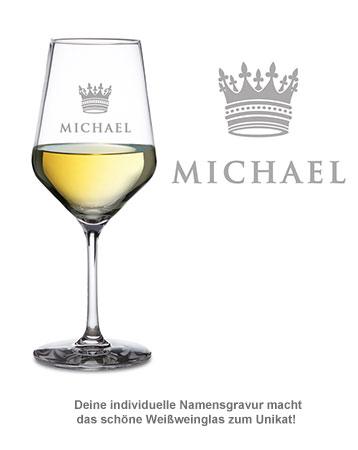 Weißweinglas mit Gravur - König Krone - 2
