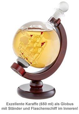 Whisky Set mit Globus Karaffe und Glas - Kompass - 3
