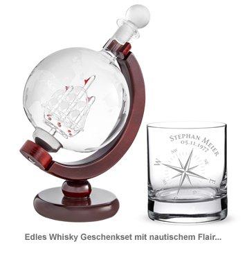 Whisky Set mit Globus Karaffe und Glas - Kompass - 4