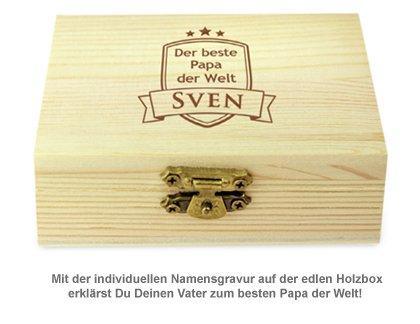 Whisky Steine in Holzkiste mit Gravur - Bester Papa - 3