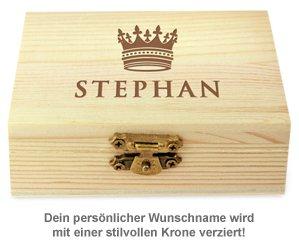 Whisky Steine in Holzkiste mit Gravur - König Krone - 2