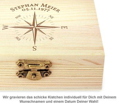 Whisky Steine in Holzkiste mit Gravur - Kompass - 3