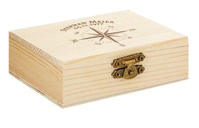 Whisky Steine in Holzkiste mit Gravur - Kompass - 4