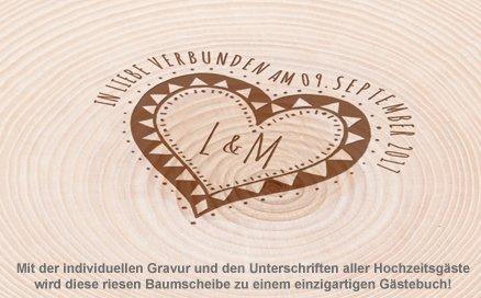 XXL Baumscheibe mit Gravur - Gästebuch zur Hochzeit - 3