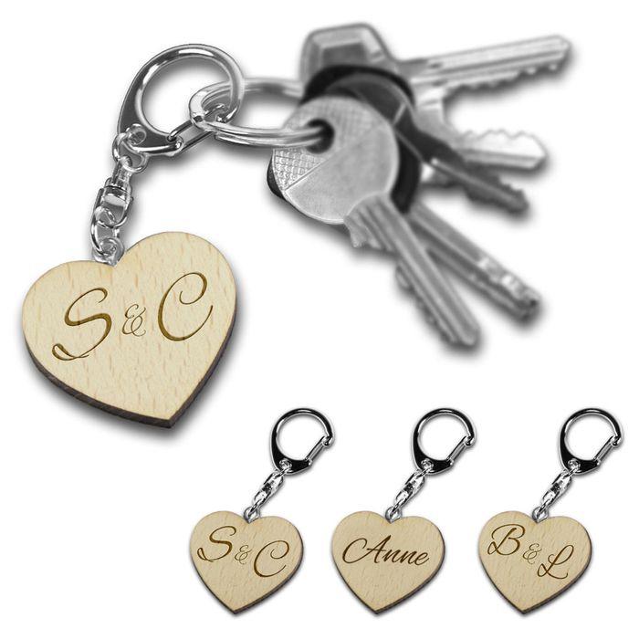 Porte-clé cœur en bois – personnalisé