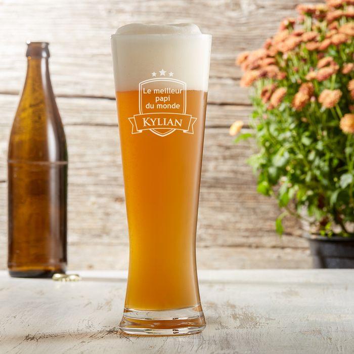 Verre à bière blanche avec gravure - Meilleur papi