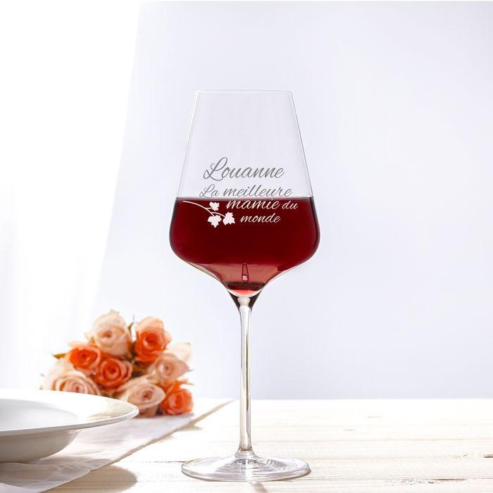 Verre à vin avec gravure - Meilleure Mamie