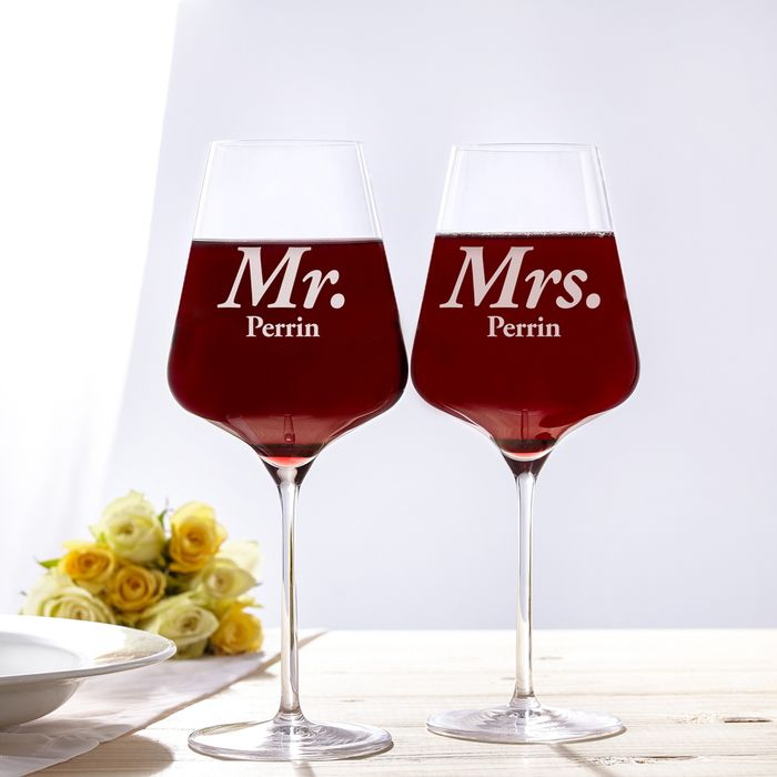 Verres à vin - Mr and Mrs