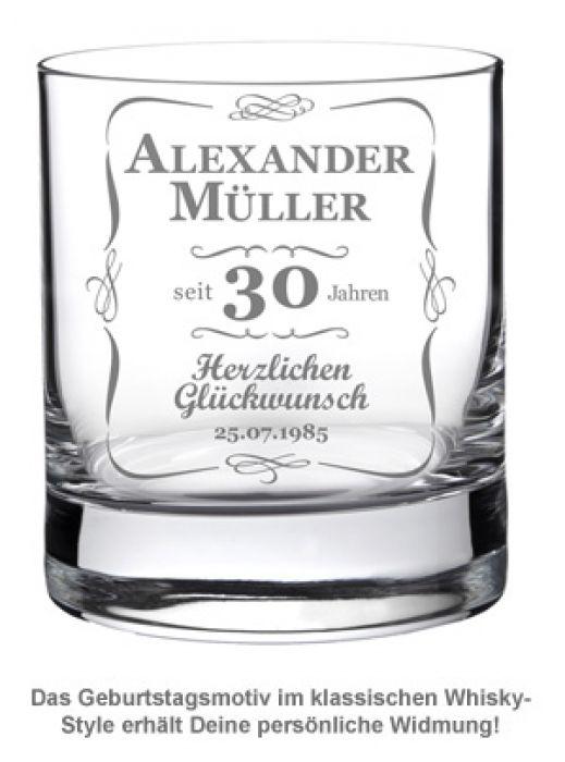Whiskyglas 30. Geburtstag - klassisch