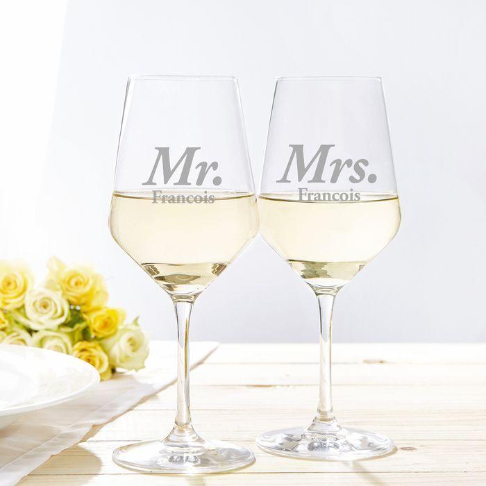 Verres à vin blanc – Mr et Mrs