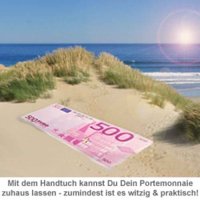 Witzige Strandtücher handtuch 500 euro schein - cooles badetuch im xxl format