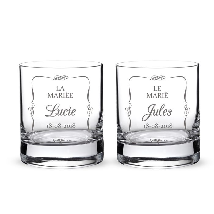 verres whisky pour le mariage couple de mari s. Black Bedroom Furniture Sets. Home Design Ideas
