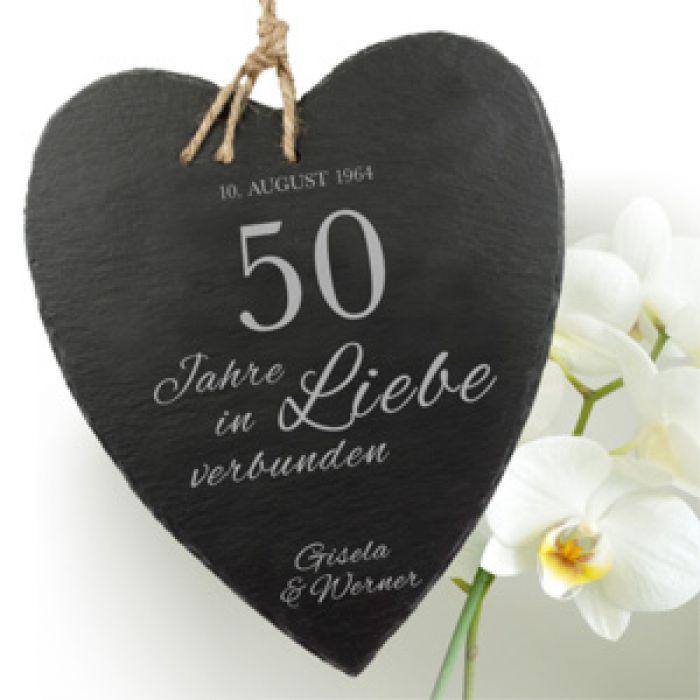 Schieferherz Zur Goldenen Hochzeit Mit Wunschnamen Und Datum