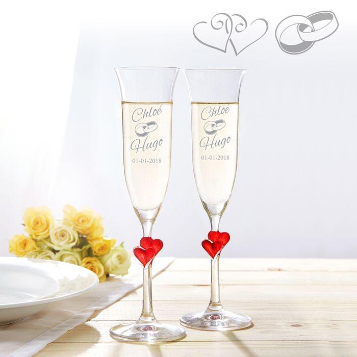 Flûtes à champagne cœurs pour le mariage