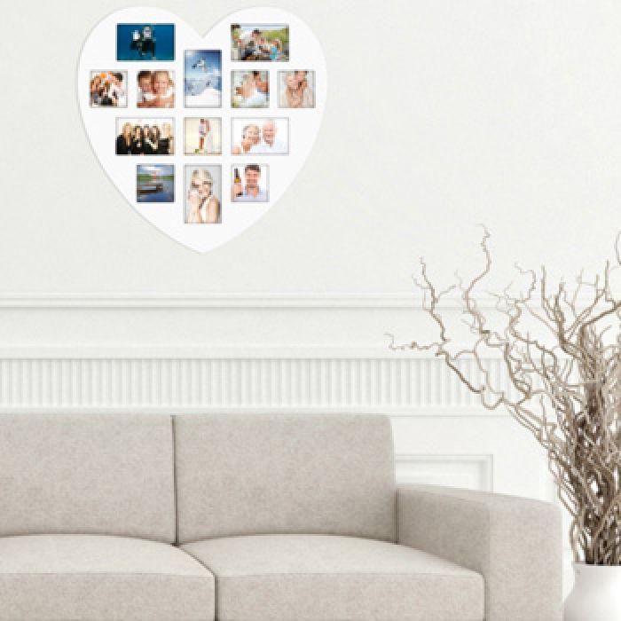 Herz Bilderrahmen Collage - weißer Holz Bilderrahmen in Herzform