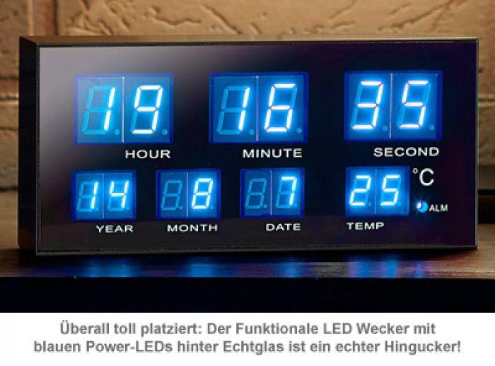 Multifunktionswecker mit blauen LEDs