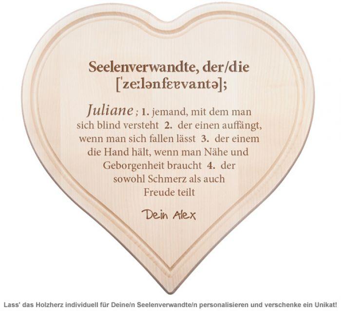 Graviertes Holzherz - Definition Seelenverwandte