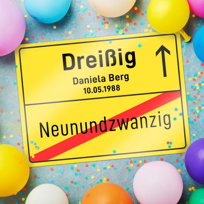 Individuellfotogeschenke - Personalisiertes Ortsschild 30. Geburtstag - Onlineshop Monsterzeug
