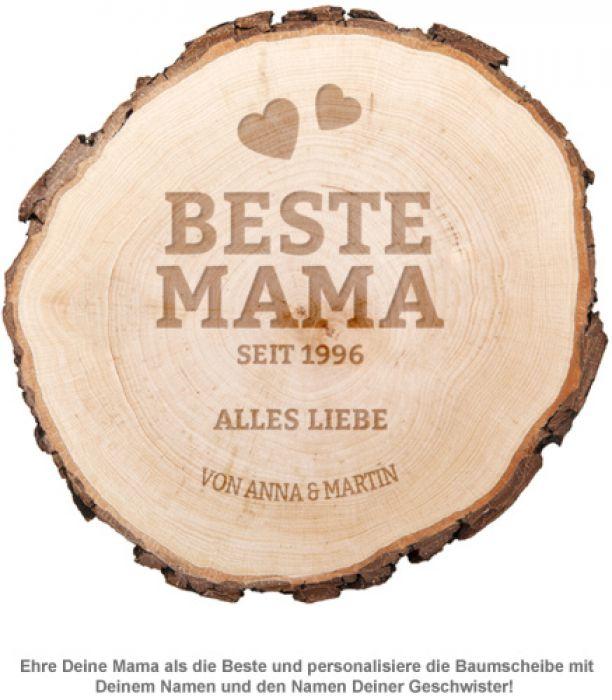 Baumscheibe mit Gravur - Beste Mama von Herzen