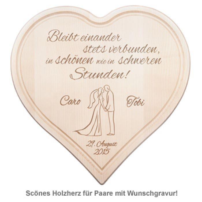 Holzherz zur Hochzeit - Paarsilhouette mit Treuespruch