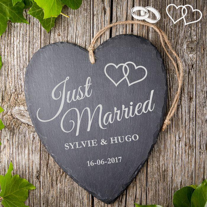 Cœur en ardoise avec gravure – Just married