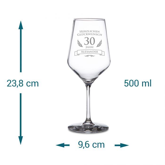 Weißweinglas zum 30. Geburtstag