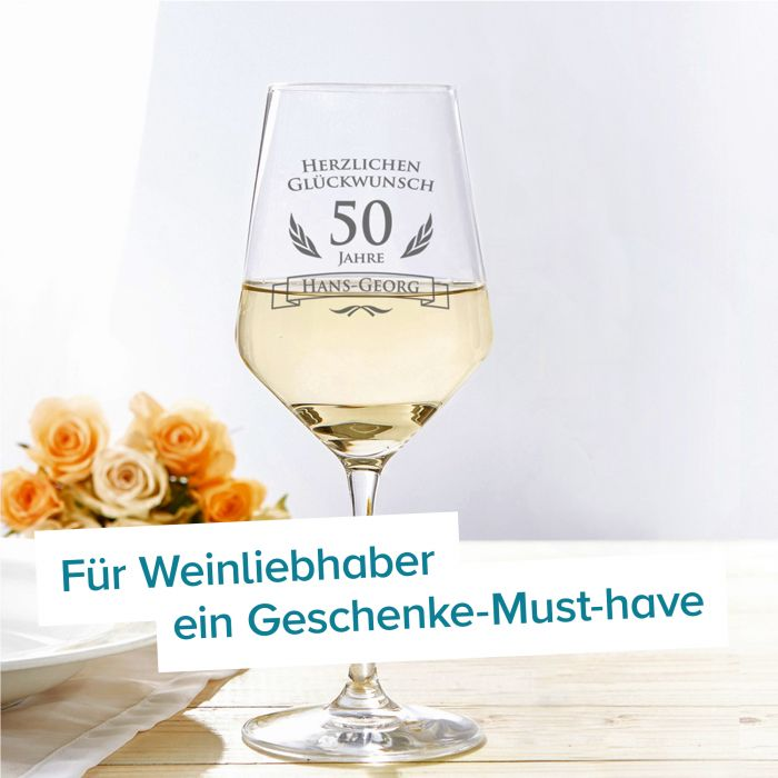 Weißweinglas zum 50. Geburtstag