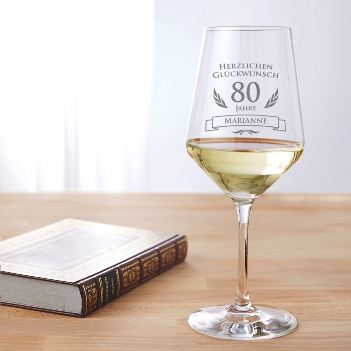 Weißweinglas zum 80. Geburtstag