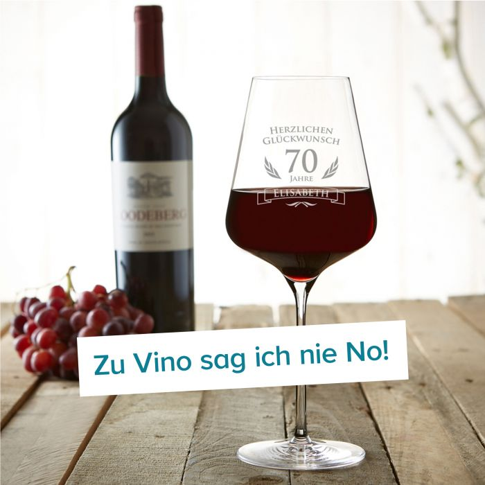 Weinglas zum 70. Geburtstag