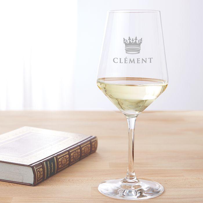 Verre à vin blanc avec gravure – Couronne de roi