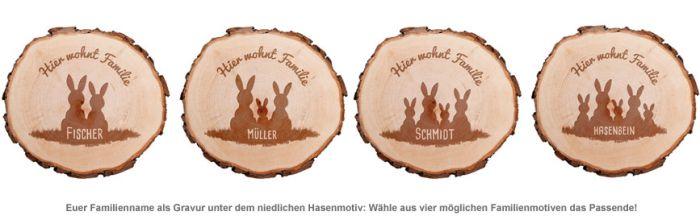 Baumscheibe mit Gravur - Hasenfamilie