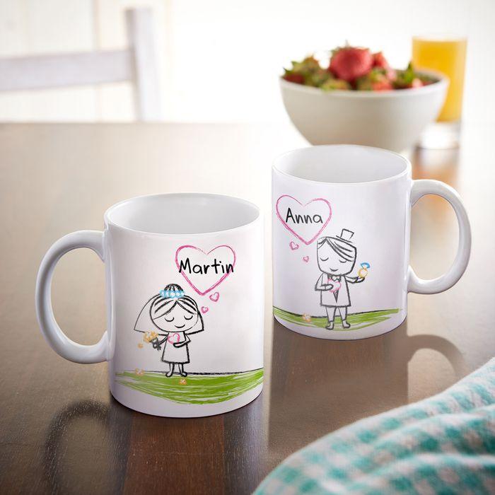 Set de 2 mugs personnalisés – Couple de jeunes mariés 4e9332102d8