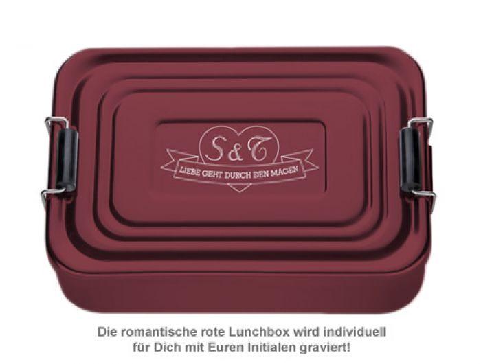 Gravierte Lunchbox Love - quadratisch (rot)