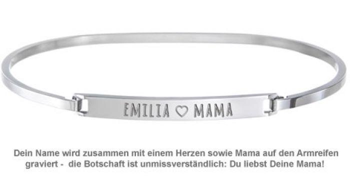 Armreif Silber mit Gravur - Mama Name