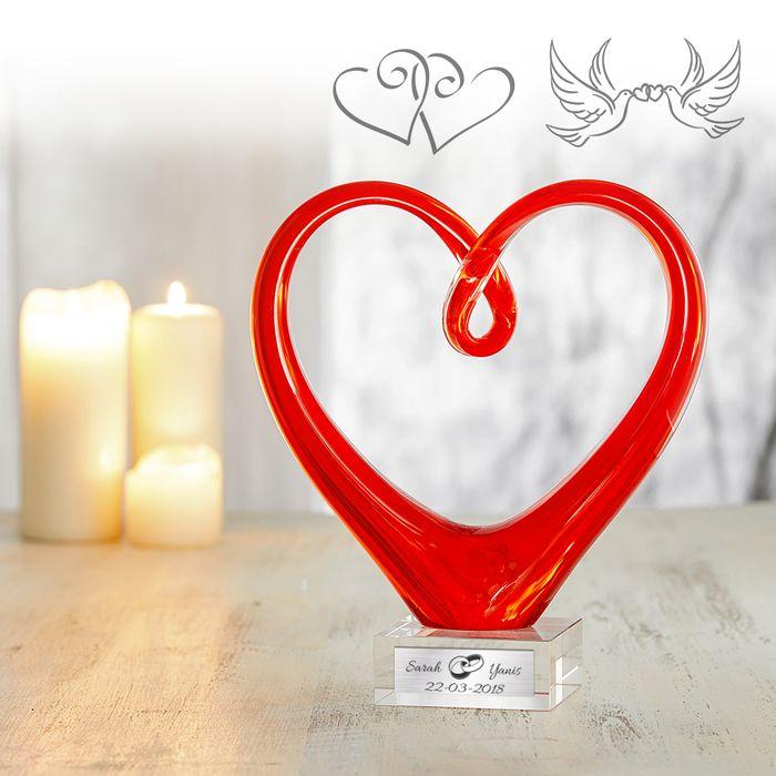 Cœur en verre avec gravure - Mariage