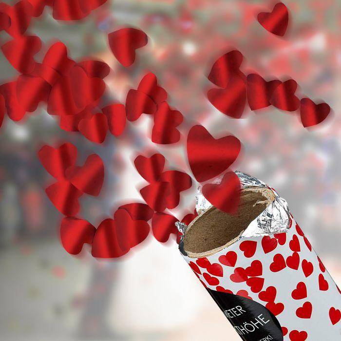 Ausgefallenromantisches - Konfettikanone 3er Set Herzregen - Onlineshop Monsterzeug